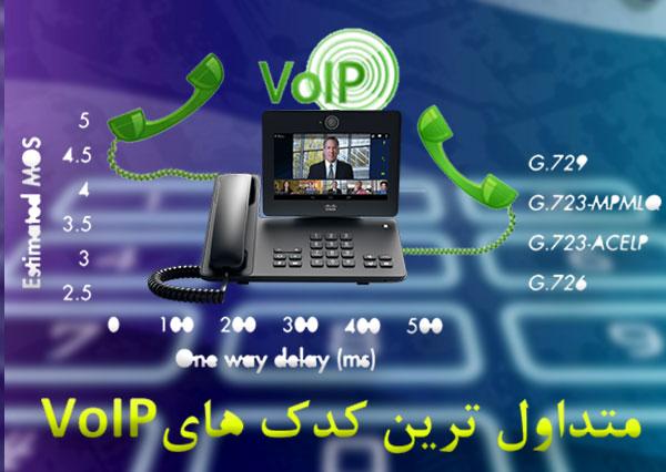 کدک های متداول استفاده شده در برنامه ها و دستگاه های VoIP
